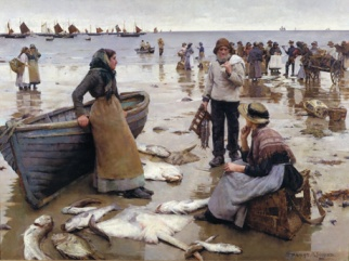 A Fish Sale on a Cornish Beach by Stanhope A. Forbes
